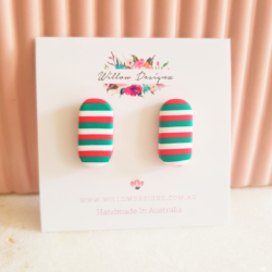 Handmade Stripy Christmas Inspired Oval Stud Earrings