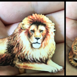 Lion Brooches / Shawl Pins / Badges – 2 styles