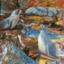 Sea Lions Original Painting by Marg Pearson