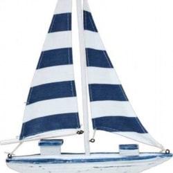 Sail Boat Navy Stripe Small