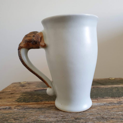 White Elephant Mugs Handmade Ceramics (with Handmade Mulberry Paper Packaging)