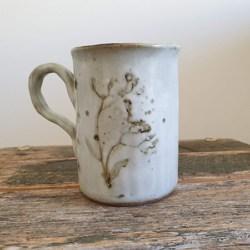 White ceramics mugs handmade with handmade mulberry paper packaging – Wild Flowers