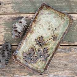 Farmhouse rectangle plate ceramics with Handmade Mulberry Paper Packaging _ Brown vines