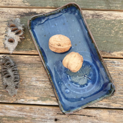 Sushi plate pottery with Handmade Mulberry Paper Packaging _ Blue Maple