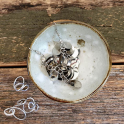 New Handmade trinket dish (with Handmade Mulberry Paper Packaging) – White brown