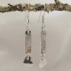 Sterling Silver Hanging Heart Earrings