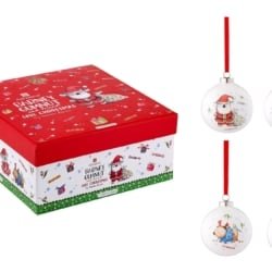 BARNEY SAVES XMAS ASSORTED 4PK BAUBLE
