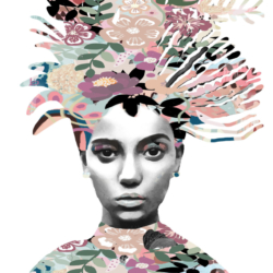 A3 300gsm Coral Flower girl unframed Print by Mahlah