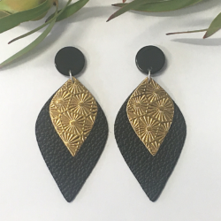 Gold and Black statement stud earrings – FREE POSTAGE