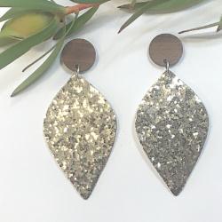 Gold Glitter statement stud earrings – FREE POSTAGE