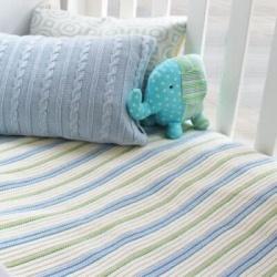 Branberry – Plain Garter Cotton & Wool Blend Blanket in Blue, Mint & White