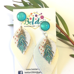 Boho Feather statement stud earrings – FREE POSTAGE