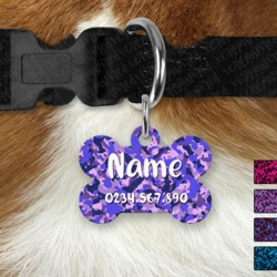 Double Sided Metal Pet ID Name Tag, Dark Camo, Dog tag, Cat tag