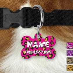 Double Sided Metal Pet ID Name Tag, Leopard Print, Dog tag, Cat tag,