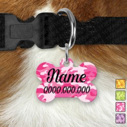Double Sided Metal Pet ID Name Tag, Camo, Dog tag, Cat tag