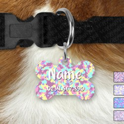 Double Sided Metal Pet ID Name Tag, Pastel Camo, Dog tag, Cat tag,