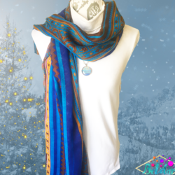 Blue Boho scarf with matching necklace set – FREE POSTAGE – 14 other designs available in our store.