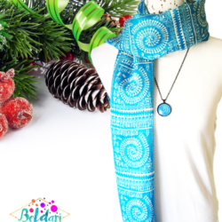 Blue Grids scarf with matching necklace set – FREE POSTAGE – 14 other designs available in our store.