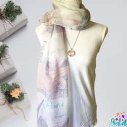 Paris themed scarf with matching necklace set – FREE POSTAGE – 14 other designs available in our store.