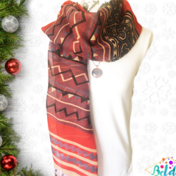 Red Boho scarf with matching necklace set – FREE POSTAGE – 14 other designs available in our store.