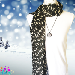 White cats scarf with matching necklace set – FREE POSTAGE – 14 other designs available in our store.