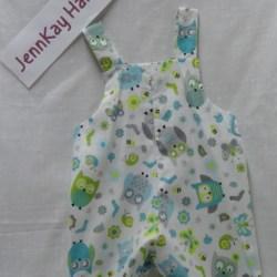 Baby Bib and Brace Shorts – Owls – 12 months