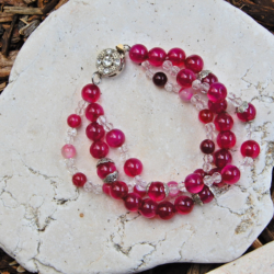 Fuchsia Agate Gemstone Bracelet