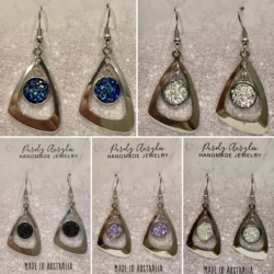Sparking Resin Triangle Earrings (Stainless Steel Lead & Nickel Free)