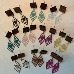 Geo Shaped filigree statement earrings with timber studs – 10 colours to choose from – FREE POSTAGE