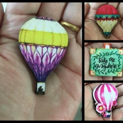 Pretty Hot Air Balloon and Suitcase Brooches / Pins / Embellishments
