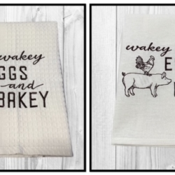 EMBROIDERED TEA TOWEL – Wakey Wakey Eggs & Bakey