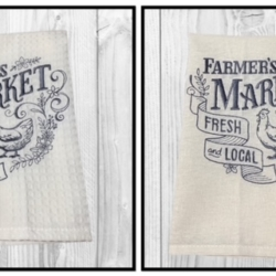 EMBROIDERED TEA TOWEL – Farmer's Market Fresh & Local – Chicken