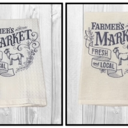 EMBROIDERED TEA TOWEL – Farmer's Market Fresh & Local – Goat