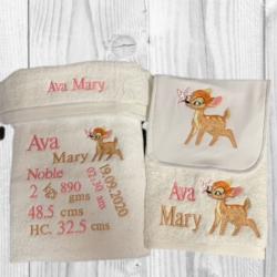 PERSONALISED EMBROIDERED BATH TOWEL SET – ' BIRTH DETAILS – BAMBI '