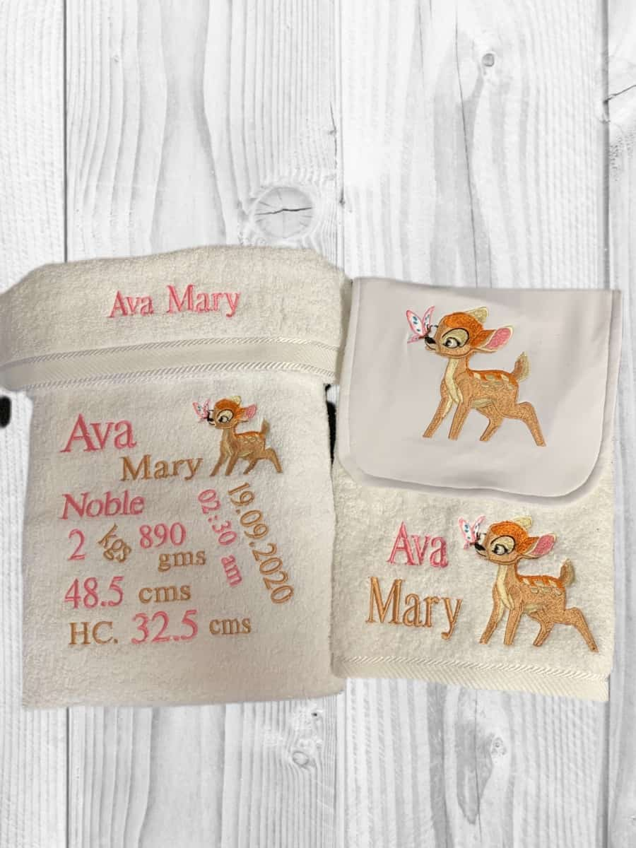 Personalised Embroidered Bath Towel Set Birth Details Bambi Spend With Us Buy From A Bush Business Marketplace