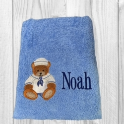 PERSONALISED EMBROIDERED BATH TOWEL – SAILOR BEAR