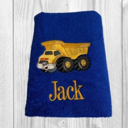 PERSONALISED EMBROIDERED BATH TOWEL – DUMP TRUCK