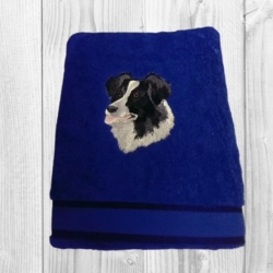 PERSONALISED EMBROIDERED BATH TOWEL -' BORDER COLLIE '