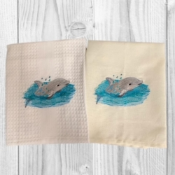 EMBROIDERED TEA TOWEL – BABY DOLPHIN
