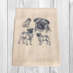EMBROIDERED TEA TOWEL – ' PUGS '