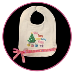 HANDMADE EMBROIDERED CHRISTMAS BABY BIB – WHAT SANTA DOESN'T BRING
