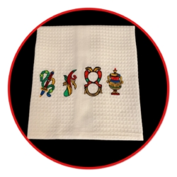 EMBROIDERED TEA TOWEL – 'SCOPA'