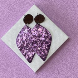 Purple Glitter faux leather statement timber stud earrings