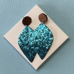 Blue Glitter faux leather statement timber stud earrings