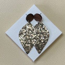 Gold Glitter faux leather statement timber stud earrings