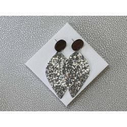 Silver Glitter statement stud earrings – FREE POSTAGE