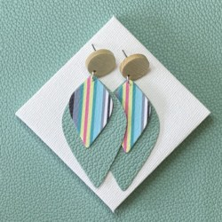 Colourful stripes statement stud earrings – FREE POSTAGE