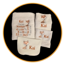 PERSONALISED EMBROIDERED BATH TOWEL SET – ' BIRTH DETAILS – FOX