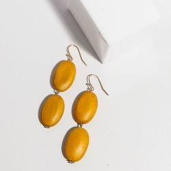Wooden Earrings Jewellery Fashion Dangle Earrings – J-E906 Mustard