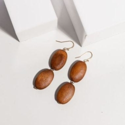 Wooden Earrings Jewellery Fashion Dangle Earrings – J-E906 Tan